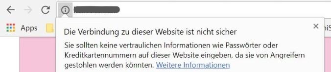 Das Browserfeld zeigt unsichere Websites an